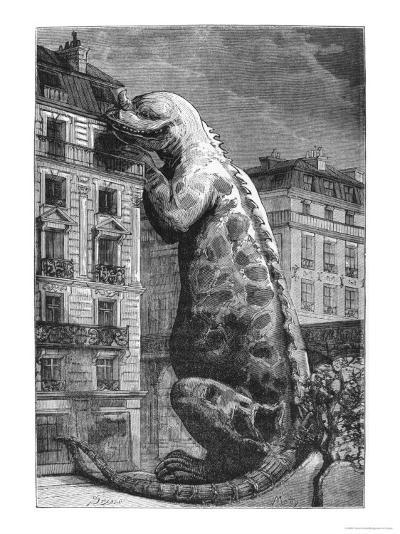 Prehistoric Monster in a Modern Town, Engraved by Motty--Giclee Print
