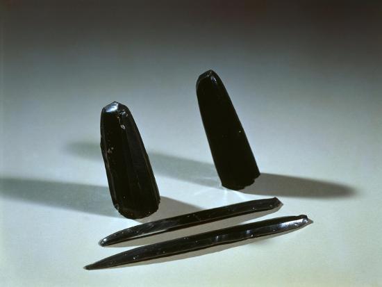 Prehistory - Italy, Sicily Region, Eolie Islands - Arrow Points and Obsidian Blades--Giclee Print