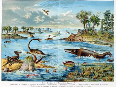 Prehistory - Jurassic - Reconstruction of Natural Environment in Europe and Some of the Animals…-German School-Giclee Print