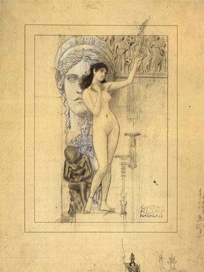 Preliminary Drawing for Allegory of Sculpture-Gustav Klimt-Giclee Print