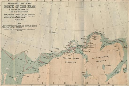 'Preliminary Map of the Route of the Fram along Northern Coast of Old World', c1893-1896, (1897)-Unknown-Giclee Print