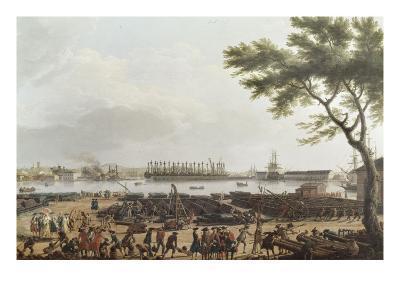 Première vue de Toulon, vue du pont-neuf prise à l'angle du parc d'artillerie-Claude Joseph Vernet-Giclee Print