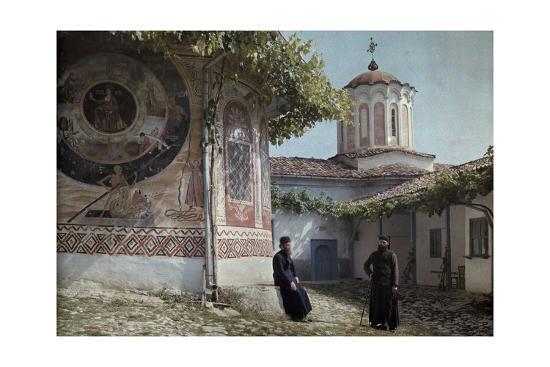 Preobrajenski Monastery Monks Rest Outside Church Adorned with Murals-Wilhelm Tobien-Photographic Print