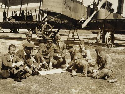 Preparation of a Mission with the Biplane Bomber Caproni Ca3--Giclee Print
