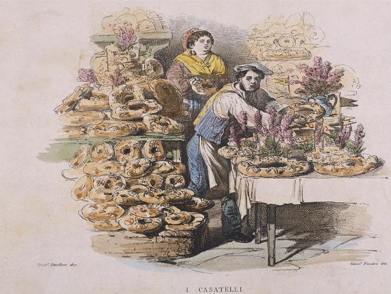 Preparation of Casatiello--Giclee Print