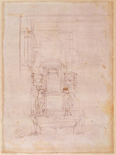Preparatory Drawing for the Tomb of Pope Julius Ii (1453-1513) (Charcoal on Paper) (Verso)-Michelangelo Buonarroti-Giclee Print