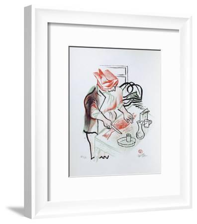 Preparing Fish for Dinner from the Shtetl portfolio-William Gropper-Framed Limited Edition