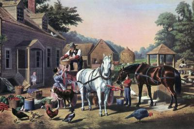 Preparing for Market, 1856-Currier & Ives-Giclee Print