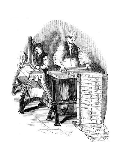 Preparing Punched Cards for a Jacquard Loom, 1844--Giclee Print