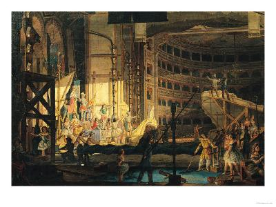Preparing Scenery in a Theatre--Giclee Print