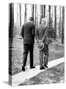 Pres Dwight Eisenhower and John Kennedy after Failed Bay of Pigs Invasion, Camp David, Apr 22, 1961