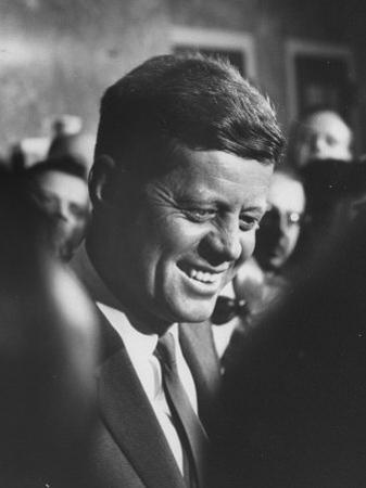 Pres.-Elect John F. Kennedy, on Announcement of Birth of His Son, at Home in Georgetown
