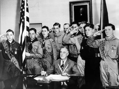 Pres Franklin Roosevelt and Honor Scouts on 27th Anniversary of Boy Scouts Founding, Feb 8, 1937--Photo