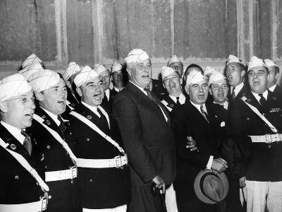 Pres Franklin Roosevelt Singing 'Home on the Range' with American Legion Glee Club of Syracuse, NY--Photo