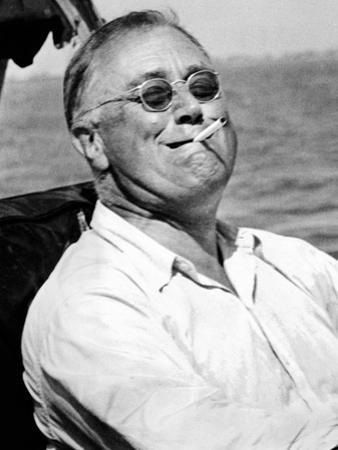 Pres Franklin Roosevelt Smokes Cigarette and Fishing During Vacation on Gulf of Mexico, May 10 1937