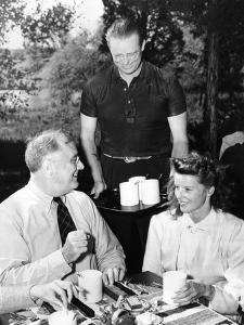 Pres Franklin Roosevelt with Actress Katherine Hepburn at Val-Kil Cottage at Hyde Park Estate