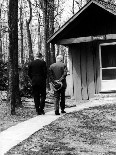 Pres. John F. Kennedy and Dwight D. Eisenhower at Camp David Discussing Cuba--Photographic Print