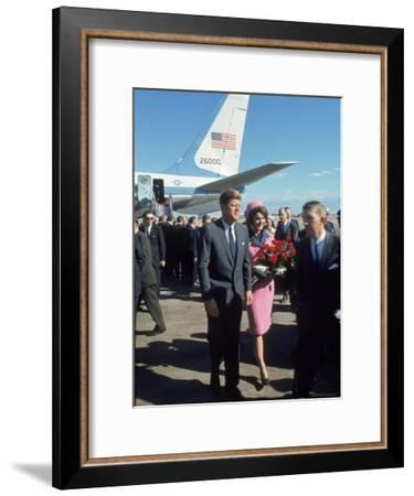 Pres. John F Kennedy and Wife Jackie at Love Field During Campaign Tour on Day of Assassination-Art Rickerby-Framed Premium Photographic Print