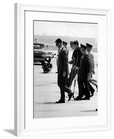 Pres. John F. Kennedy on Crutches Due to Back Ailment-Ed Clark-Framed Photographic Print