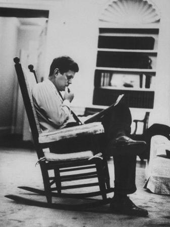 Pres. John F. Kennedy Sitting in Rocking Chair