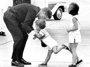 Pres John Kennedy and Children, John Jr and Caroline at Squaw Island, Massachusetts, Aug 23, 1963