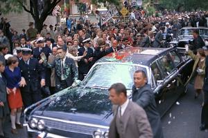 Pres. Johnson's Limo Attacked by Anti-Vietnam War Protesters in Melbourne, Oct. 21, 1966