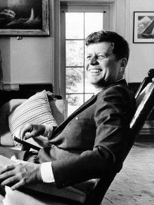 Pres Kennedy Sits in Rocking Chair in Oval Office of White House on 46th Birthday, May 29, 1963