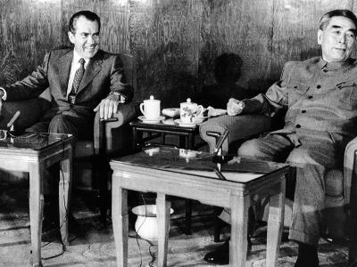 Pres Richard Nixon and Premier Chou En-Lai before First Plenary Session, Beijing, Feb 21, 1972--Photo