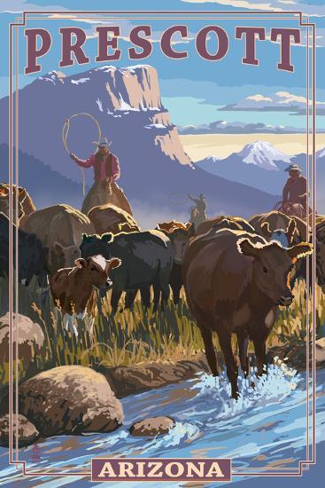 Prescott, Arizona - Cowboy Cattle Drive Scene-Lantern Press-Art Print