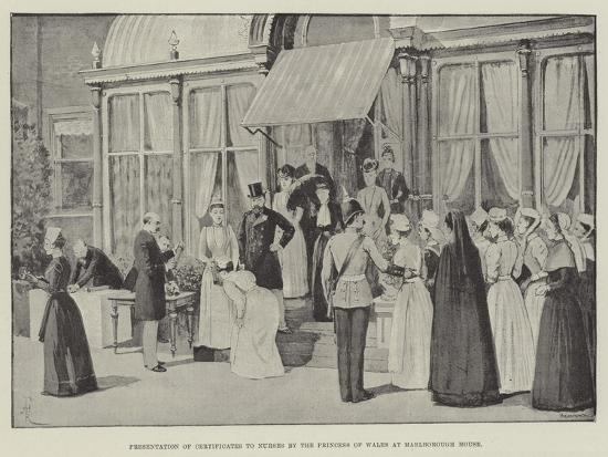 Presentation of Certificates to Nurses by the Princess of Wales at Marlborough House-Amedee Forestier-Giclee Print