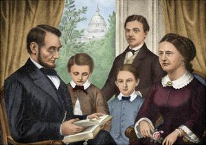 President Abraham Lincoln and His Family Reading a Book in the White House