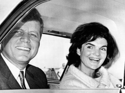 President and Jacqueline Kennedy in Palm Beach, Florida--Photo
