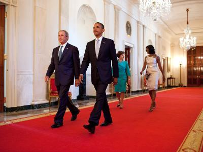 President Barack Obama and First Lady Michelle Obama Walk with Former President George W Bush--Photo