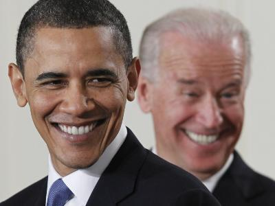 President Barack Obama and Vice President Joe Biden in the East Room of the White House--Photographic Print