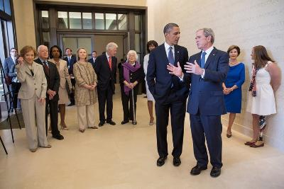 President Barack Obama Talks with Former President George W. Bush, April 25, 2013--Photo