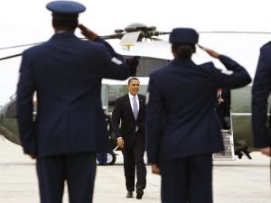 President Barack Obama Walks Towards Air Force One at Andrews Air Force Base