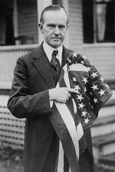 President Calvin Coolidge Holding an American Flag. May 2, 1924--Photo