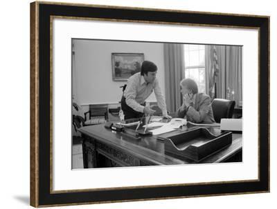 President Carter and Hamilton Jordan Working on Panama Canal Treaty, 1977-78--Framed Photo