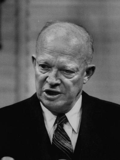 President Dwight D. Eisenhower Answering Questions at a Press Conference--Photographic Print
