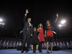 President-Elect Barack Obama and His Family Wave at the Election Night Rally in Chicago