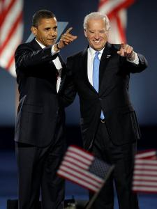 President-Elect Barack Obama and VP Joe Biden after Acceptance Speech, Nov 4, 2008