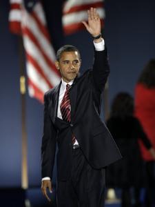 President-Elect Barack Obama Waves after Acceptance Speech, Nov 4, 2008