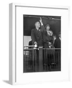 President-Elect Franklin Roosevelt and Wife Eleanor on the Rear Platform of His Special Train Car