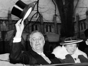 President Franklin and Eleanor Roosevelt Greeting Crowds in Washington DC