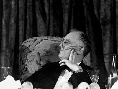 President Franklin D. Roosevelt Listening to Speeches During the Jackson Day Dinner-Thomas D^ Mcavoy-Photographic Print