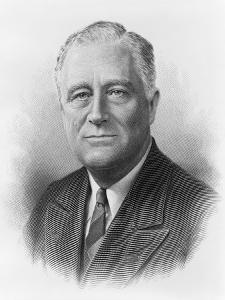 President Franklin Roosevelt in a Engraved Portrait by the Bureau of Printing and Engraving