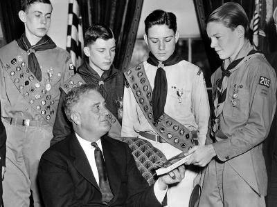 President Franklin Roosevelt Receives the Five-Millionth Copy of the Boy Scout Handbook--Photo