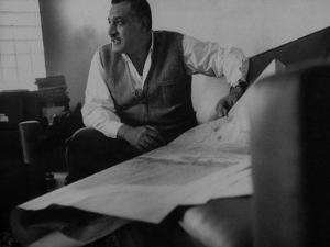 President Gamal Abdul Nasser at His Home Just after Port Said Invasion