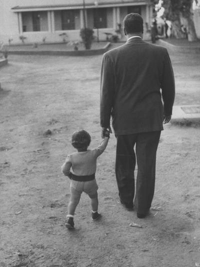 President Gamal Abdul Nasser at His Home with His Small Son Just after Port Said Invasion-Howard Sochurek-Premium Photographic Print