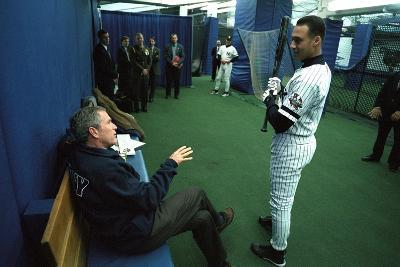 President George W. Bush Derek Jeter before the First Pitch in Game 3 of the World Series--Photo